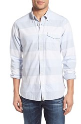 Men's Barbour 'Sailor' Regular Fit Stripe Sport Shirt Sky Blue