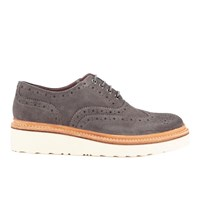 Grenson Women's Emily V Suede Brogues Charcoal Grey
