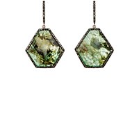 Monique Pean Atelier Women's Pave Black Diamond And Emerald Slice Earrings Green No Color Green No Color