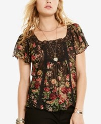 Denim And Supply Ralph Lauren Floral Print Lace Accent Boho Shirt Floral Black