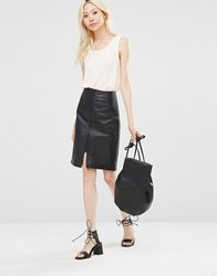 Y.A.S Leather Pencil Skirt Black