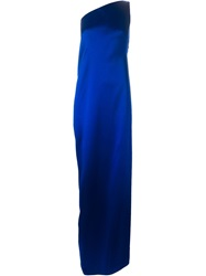 Maison Rabih Kayrouz One Shoulder Draped Back Gown Blue