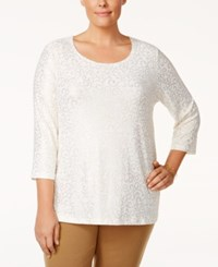 Jm Collection Plus Size Metallic Top Only At Macy's White Lattice Scroll