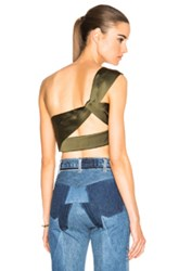 3.1 Phillip Lim One Shoulder Crop Top In Green