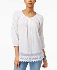 American Living Crochet Trim Peasant Blouse Only At Macy's White