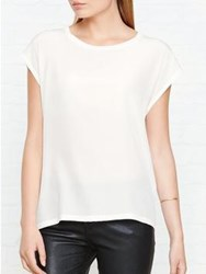 Reiss Silk Front T Shirt White