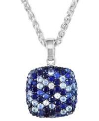 Effy Collection Saph Splash By Effy Sapphire Square Pendant 4 1 8 Ct. T.W. In Sterling Silver Blue