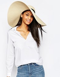 French Connection Wide Brim Floppy Straw Hat Natural Beige