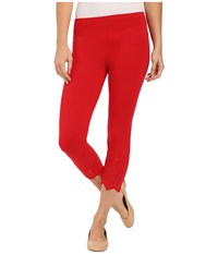 Hue Eyelet Trim Cotton Capris Tango Red Women's Capri