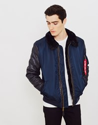 Alpha Industries B3 M Faux Leather Flight Jacket Navy