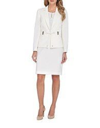 Tahari By Arthur S. Levine Notched Lapel Jacket And Pencil Skirt Set Silver