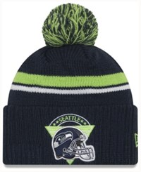 New Era Seattle Seahawks Diamond Stacker Knit Hat Navy Lime