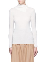 Theory 'Leendelly' Button Turtleneck Merino Wool Knit Top White