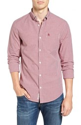 Original Penguin Men's Extra Slim Fit Dobby Check Woven Shirt Pomegranate