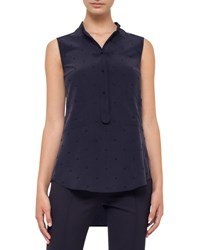 Akris Punto Sleeveless Studded Silk Blouse Deep Blue