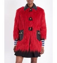 Gucci Leather Detail Faux Fur Coat Hibiscus Red Black