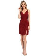 Faviana Chiffon V Neck W Full Skirt 7850 Wine Women's Dress Burgundy