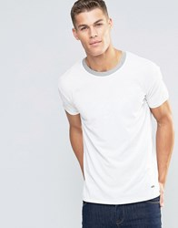 Boss Orange Tanzy Pique T Shirt Relaxed Fit Contrast Collar White