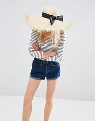 Asos Raw Edge Oversized Straw Floppy Hat With Bow Natural Brown