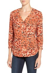 Hinge Women's Lace Inset Woven Top Orange Ginger Floral Collage