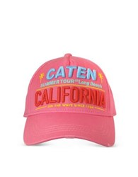 Dsquared2 Caten California Embroidered Baseball Cap Pink
