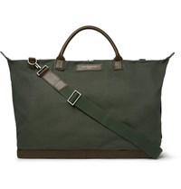 Want Les Essentiels Hartsfield Leather Trimmed Canvas Holdall Army Green
