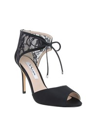 Nina Malini Lace And Mesh Peep Toe Stilettos Black