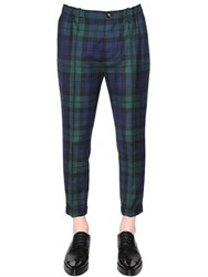 Dsquared 17Cm Plaid Stretch Wool Pants