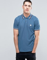 Pretty Green Polo Shirt With Twin Tip In Slim Fit Blue Blue