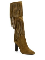 Saint Laurent Lily Fringe Suede Tall Boots Cigare