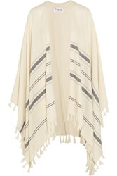 Frame Le Poncho Fringed Striped Alpaca Cape Cream