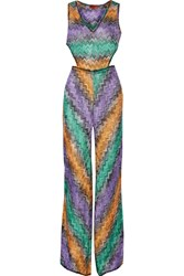 Missoni Cutout Metallic Crochet Knit Coverup Purple