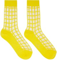 Y's Yellow Sheer Check Socks