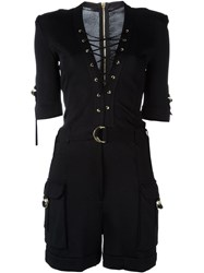 Balmain Lace Fastening Playsuit Black
