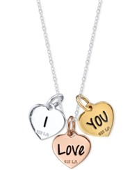Unwritten I Love You Triple Heart Pendant Necklace In Tri Tone Sterling Silver