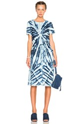 Raquel Allegra Drawstring Dress In Blue Ombre And Tie Dye