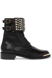 Rene Caovilla Embellished Leather Ankle Boots Black