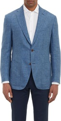 Luciano Barbera Linen Two Button Sportcoat Blue Size Extra Large