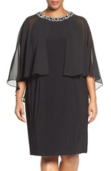 Alex Evenings Plus Size Women's Embellished Shift Dress With Capelet