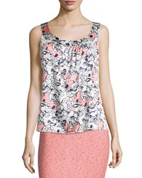 St. John Petite Airbrush Floral Sleeveless Blouse Bright White Nectar Ink