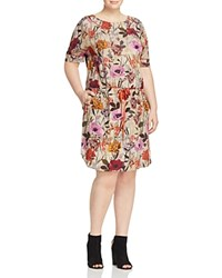 Marina Rinaldi Dallas Floral Print Drawstring Dress Ecru