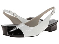 Trotters Dea White Black Patent Python Leather Women's 1 2 Inch Heel Shoes
