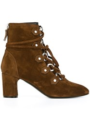 Casadei Lace Up Ankle Boots Brown