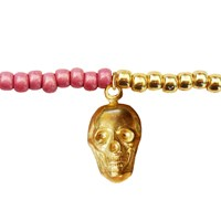 Lucci Charmers Skull Charm Bracelet Pearl Pink