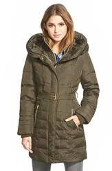 Women's Kensie Belted Hooded Down And Feather Fill Coat Military