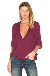 Young Fabulous And Broke H Wrap Blouse Burgundy