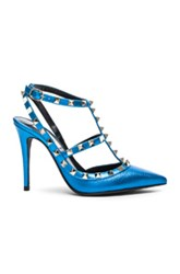 Valentino Leather Rockstud Slingbacks T.100 In Blue Metallics Blue Metallics