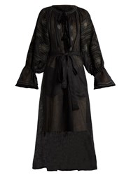 Vita Kin Klim Embroidered Long Sleeved Linen Dress Black