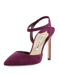 Manolo Blahnik Minis Suede Ankle Strap Pump Cranberry Red
