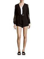 Finders Keepers Buckets Of Rain Long Sleeve Short Jumpsuit Black